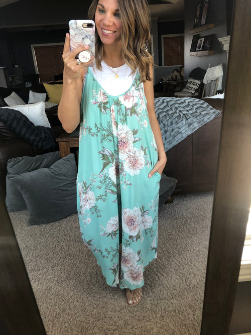 Good For You Mint Floral Jumpsuit w. Pockets
