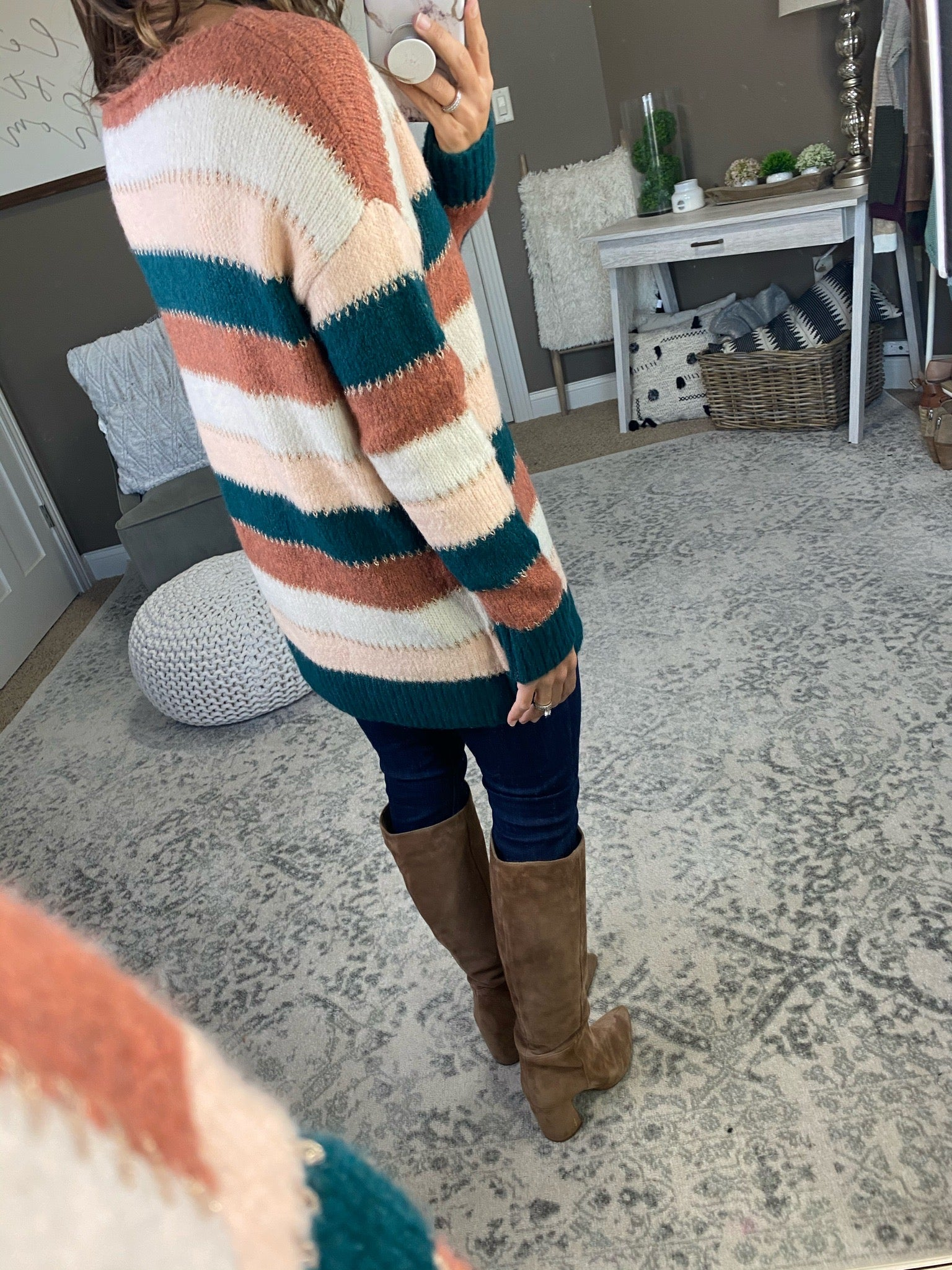 Small Town Peach and Teal Stripe Sweater with Gold Stitching