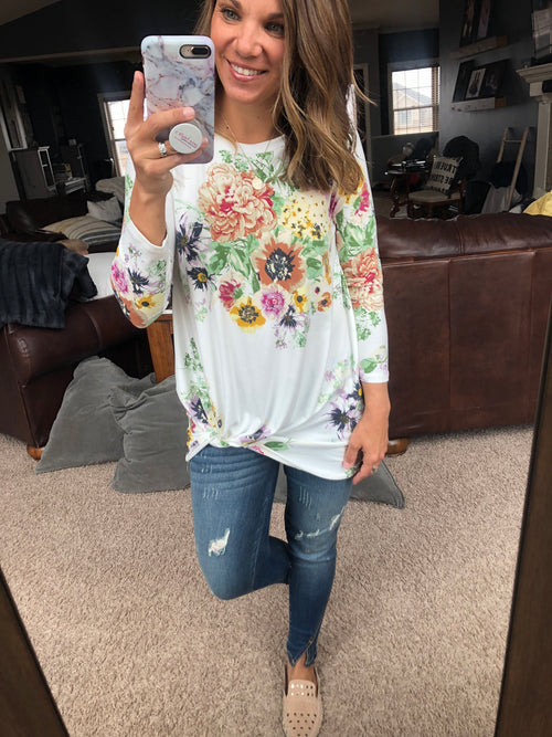 Don't Forget The Flowers Ivory Front Knot Long Sleeve