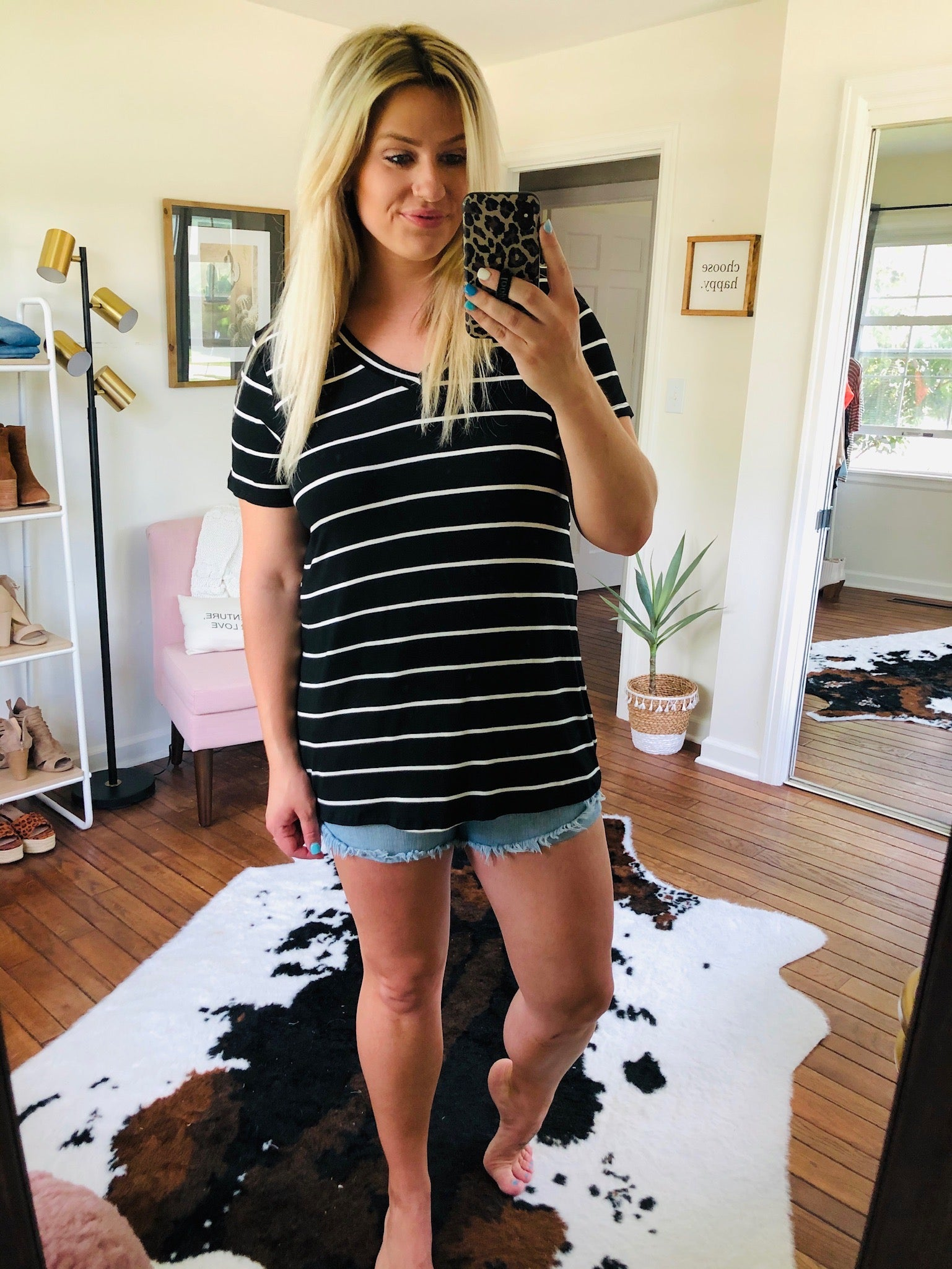Rising Up Black and Ivory Striped V-Neck Tee