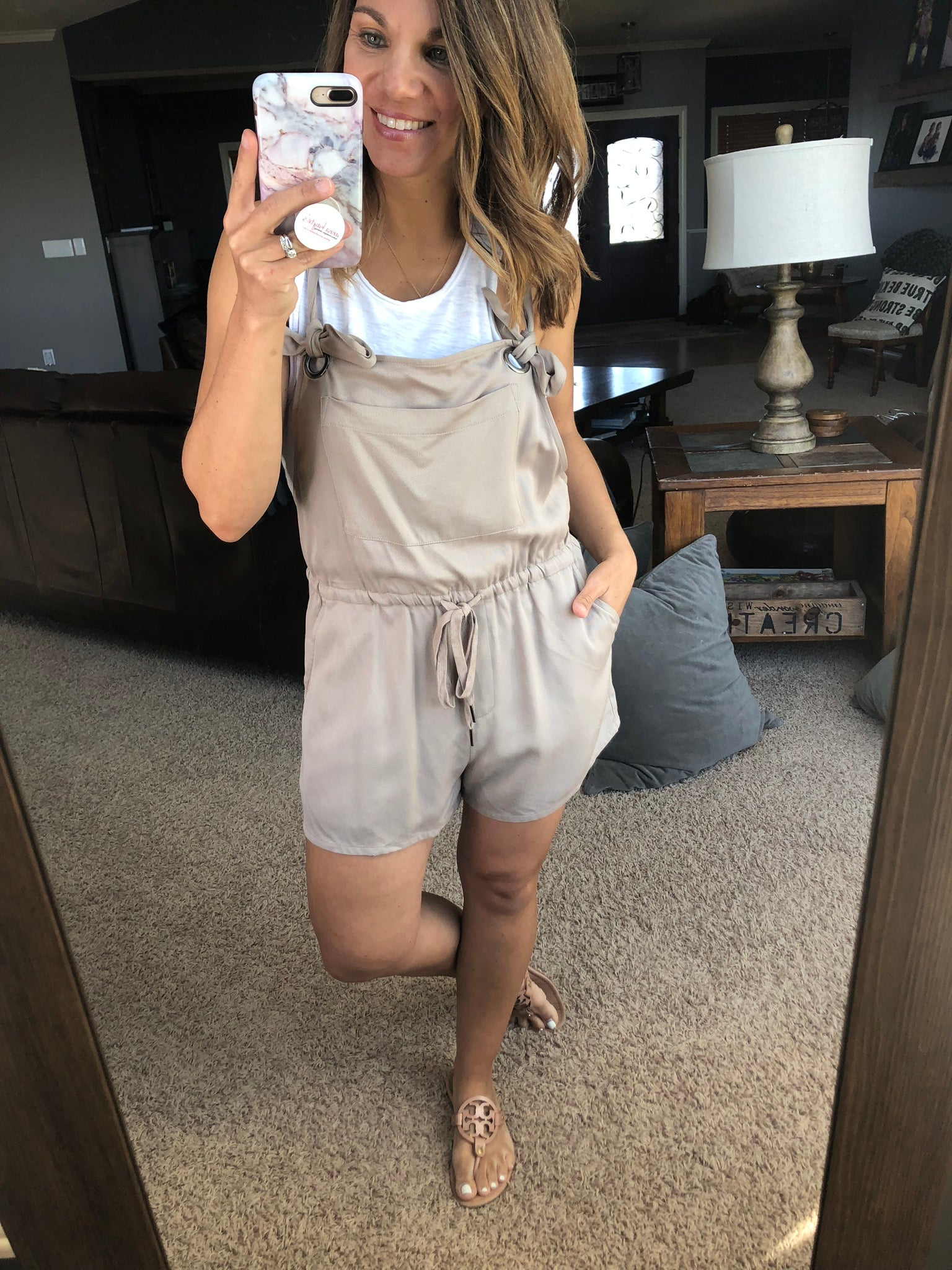 Heading Downtown Khaki Romper w. Front Pocket