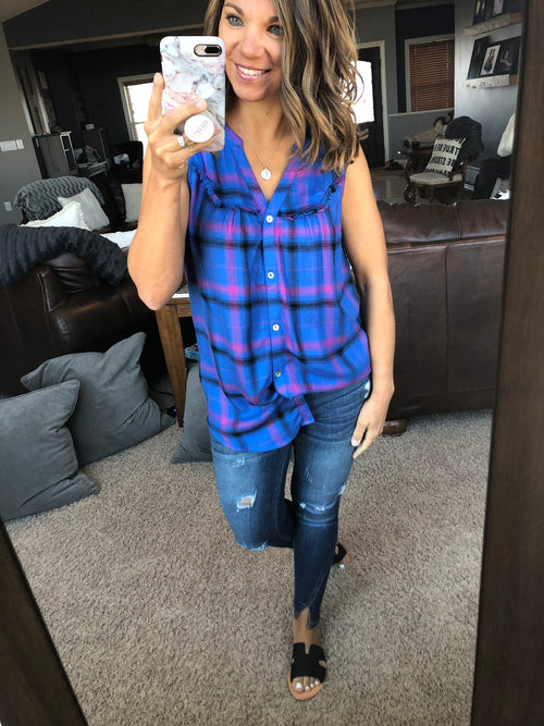 Concert Ready Purple & Blue Buttoned Plaid Tank w. Lace Detail