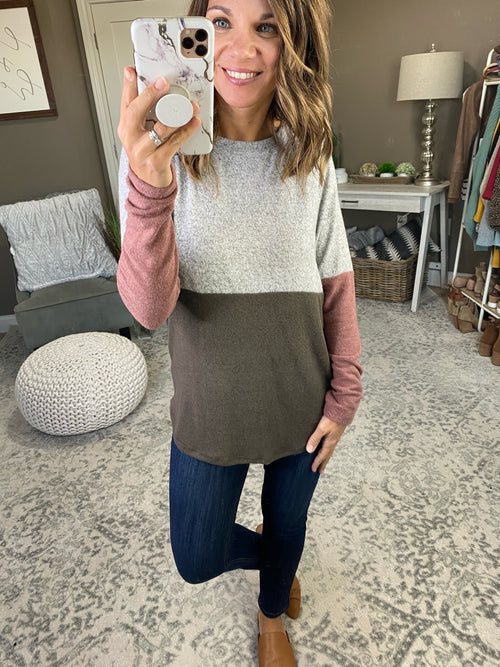 Tell Me More Grey and Olive Colorblock Brushed Fleece Long Sleeve