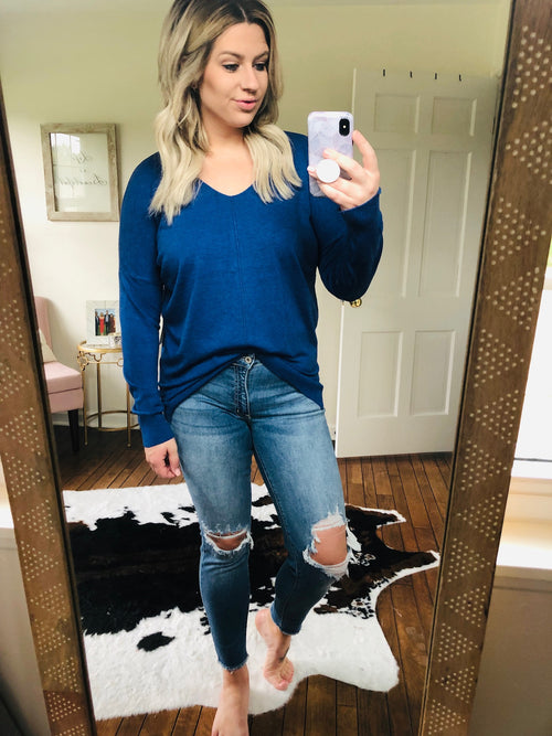 I Think I'm In Love Buttersoft V-Neck Exposed Seam Sweater- Blue