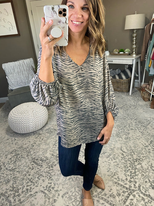 Wild About You V-Neck Balloon Sleeve Blouse