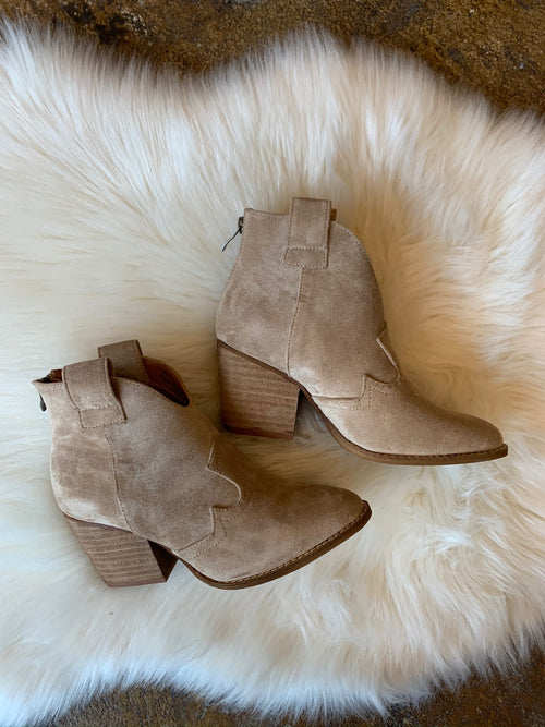 Bad At Love Faux Suede Bootie- Taupe
