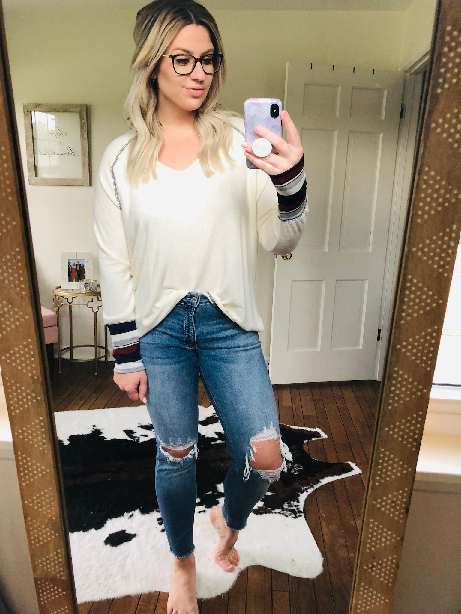 Know Better Ivory Brushed Fleece V-Neck Long Sleeve with Stripe Cuff Detail