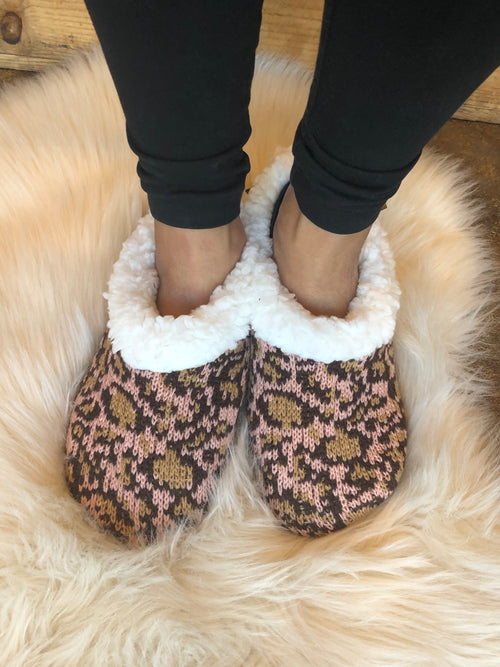 Baby, It's Cold Outside Leopard Knit Slippers with Sherpa Lining