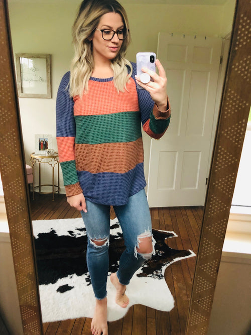 Harvest Dreams Colorblock Waffle Long Sleeve