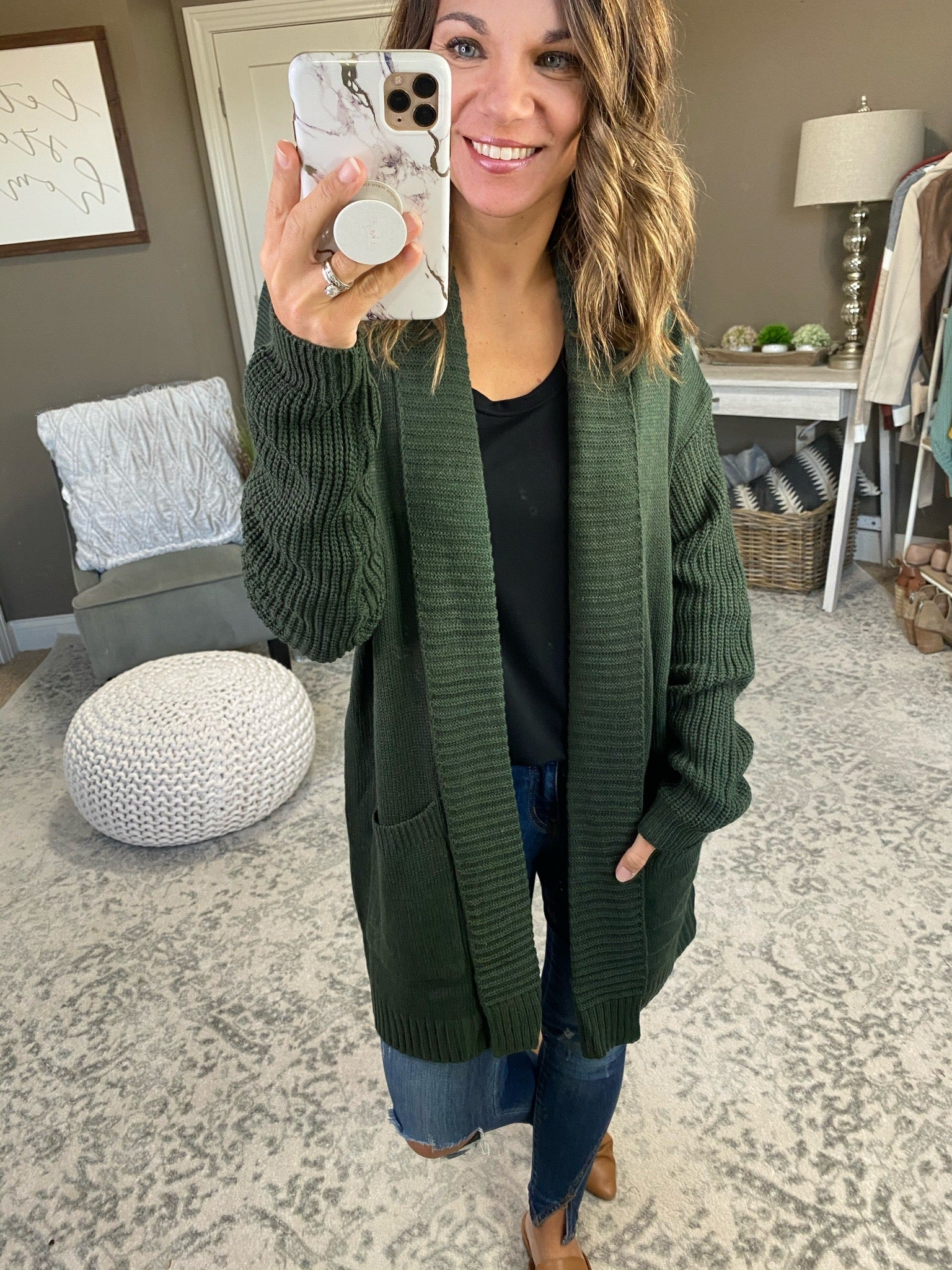 Jordyn Knit Open Front Cardigan with Pockets- Multiple Options