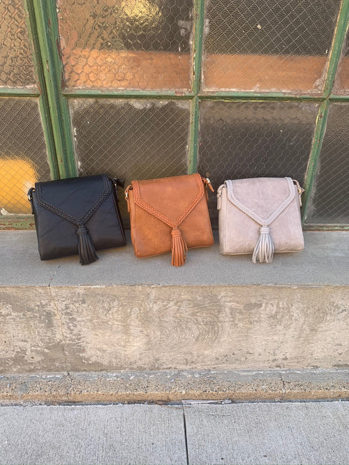 New Vibe Structured Vegan Leather Crossbody with Tassle - Multiple Options