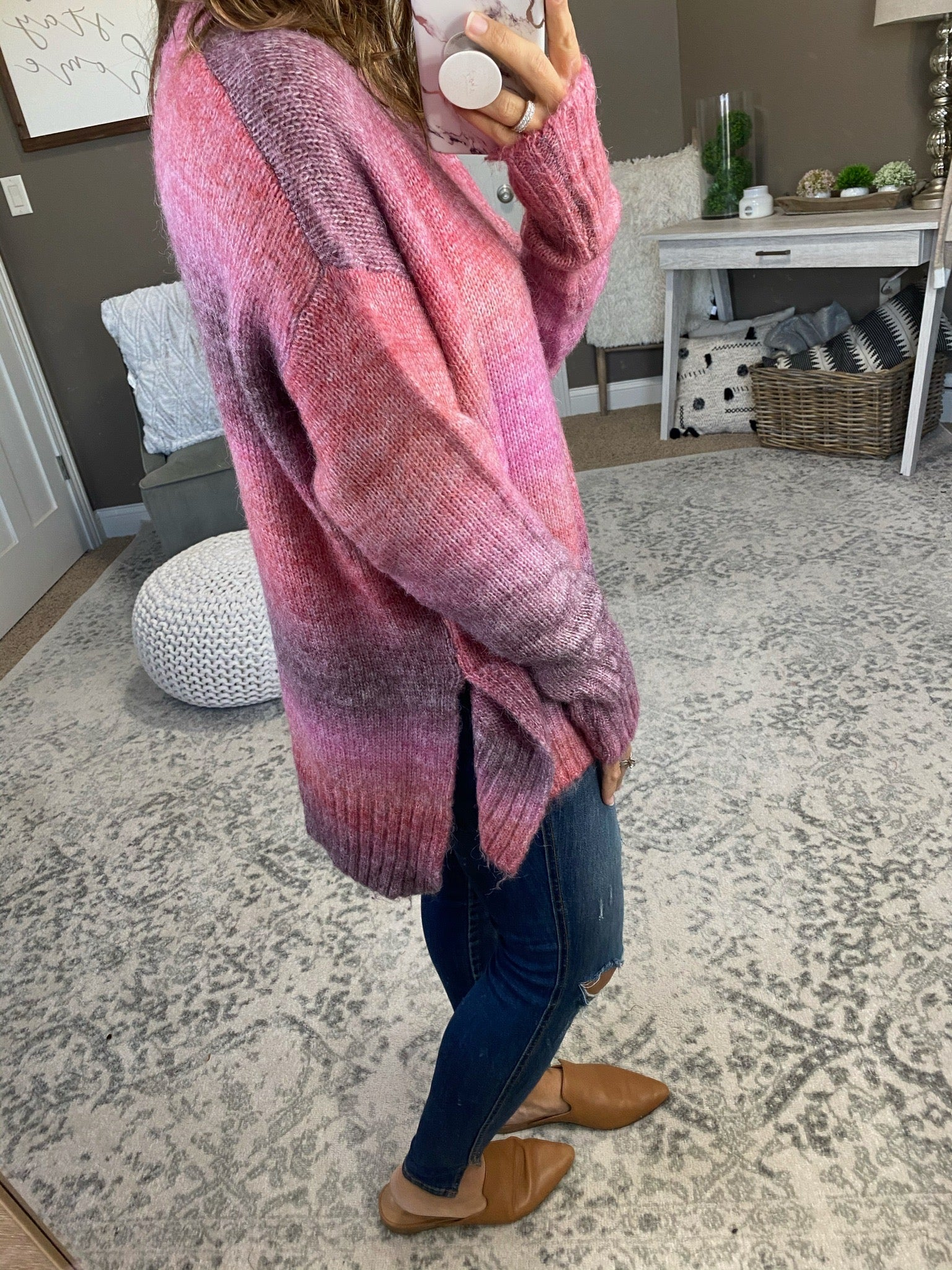 Fireworks In The Sky Purple and Pink Mix Crew Sweater with Split Hem