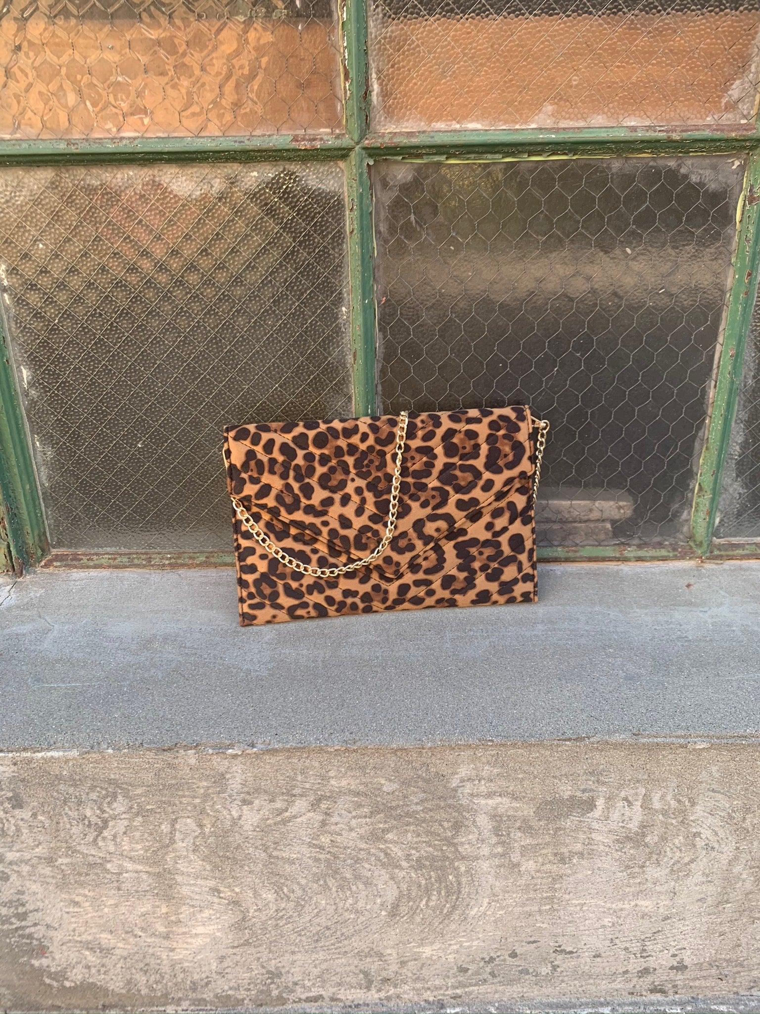 Hold On Leopard Flat Clutch with Removable Gold Chain Strap
