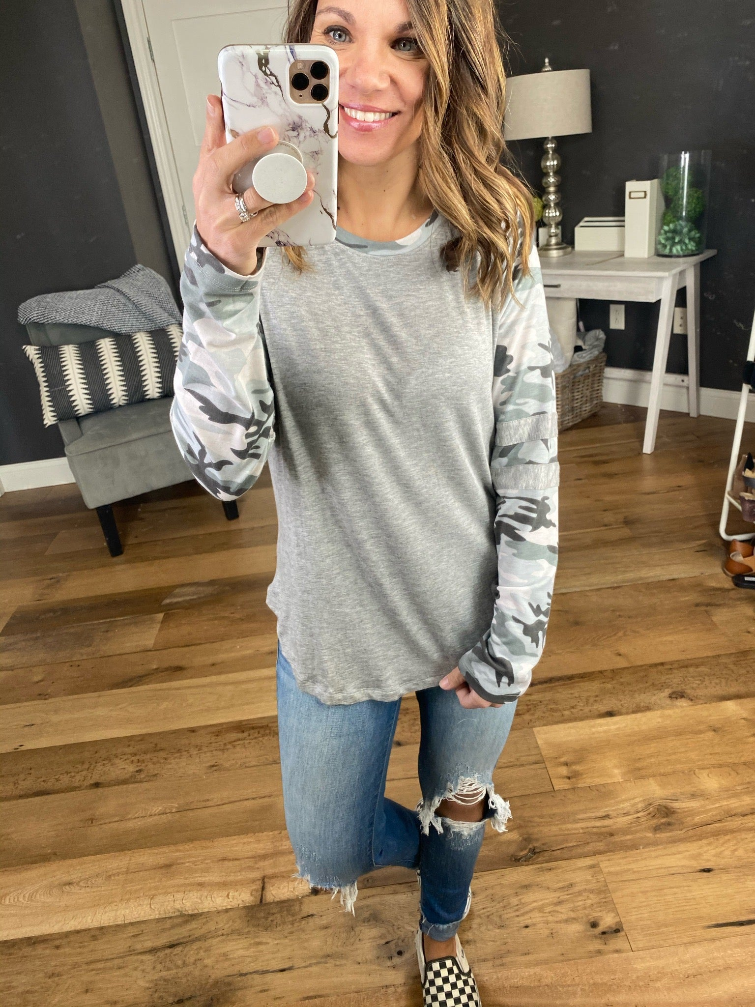 Count On It Heather Grey Long Sleeve with Camo Sleeves