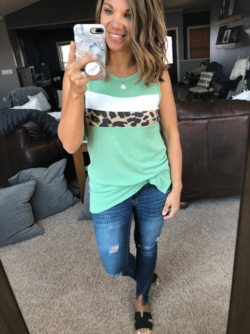 In High Demand Leopard Insert Color Block Tank - Sage