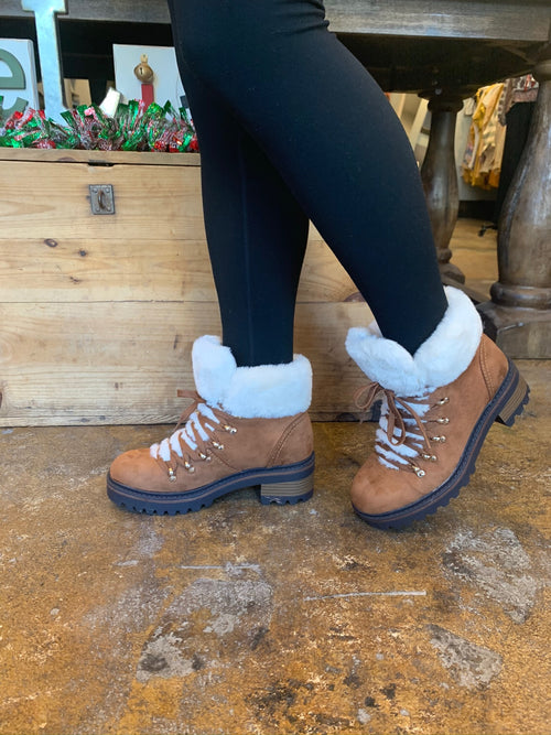 Snow Bunny Sherpa Lined Tan Lace Up Bootie