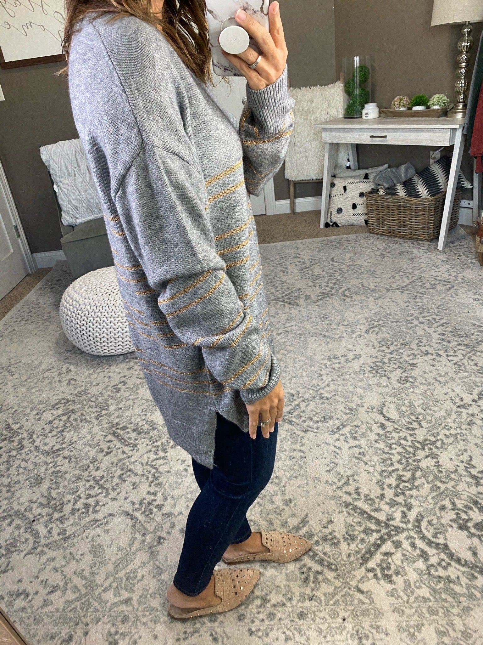 Let Me Show You V-Neck Sweater with Gold Stripe Detail- Multiple Options