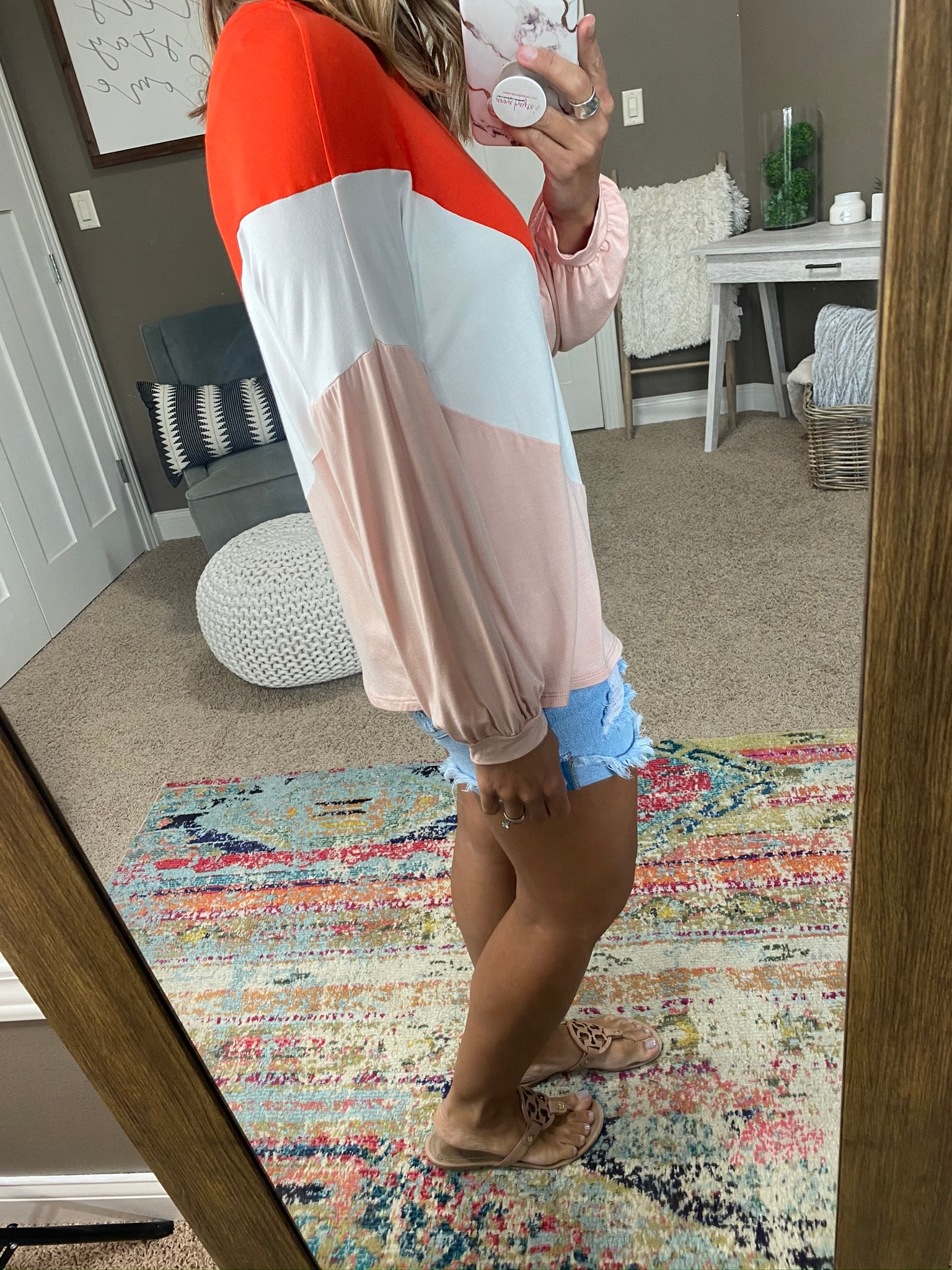 Did You Know Chevron Coral Mix Colorblock Long Sleeve