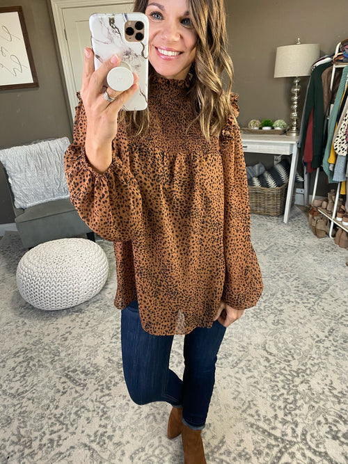 Sweetheart I'm Yours Spotted Blouse with Ruched Mock Neck - Multiple Options