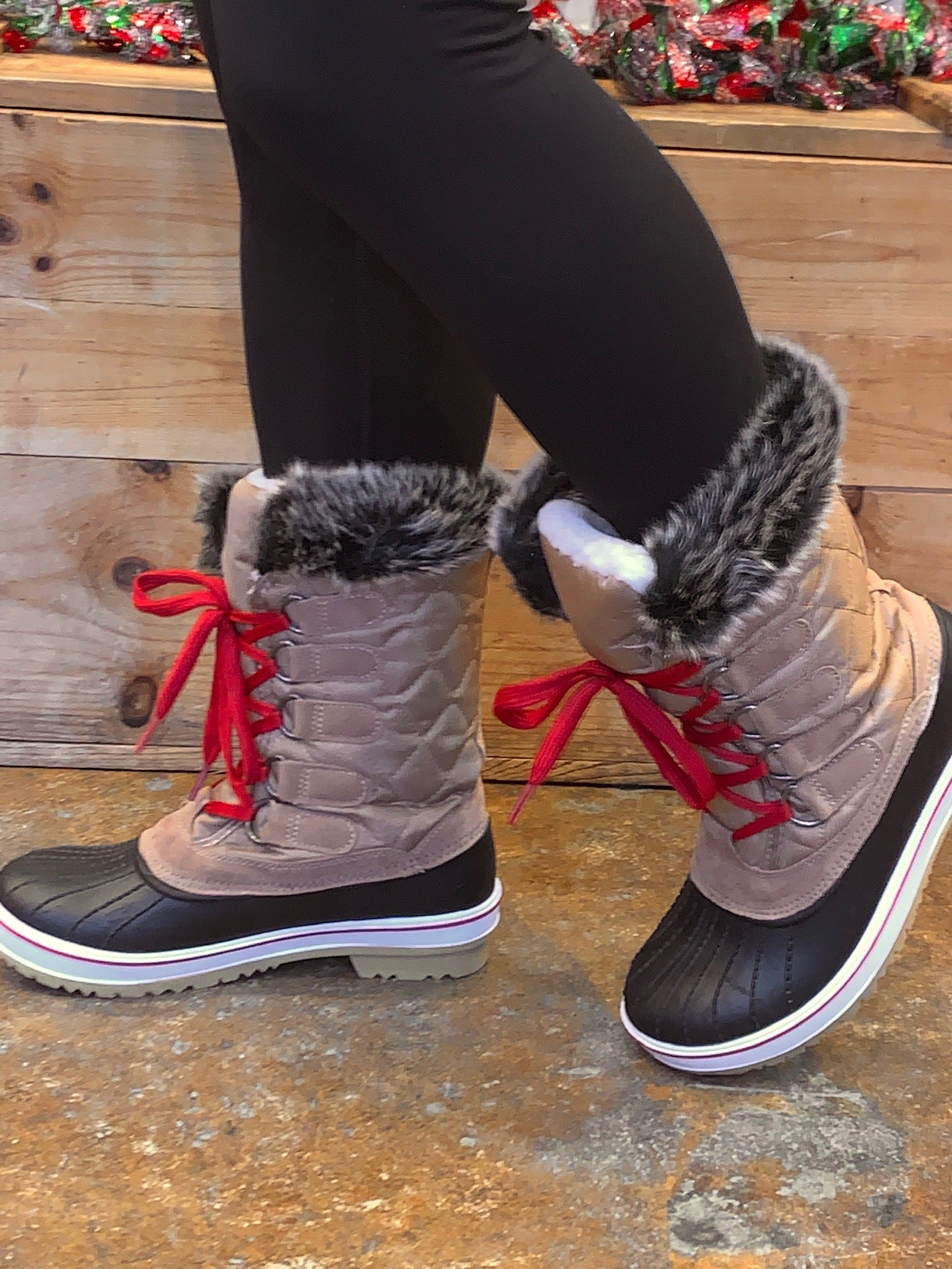 Walking In Wonderland Tan and Black Winter Boots with Red Laces