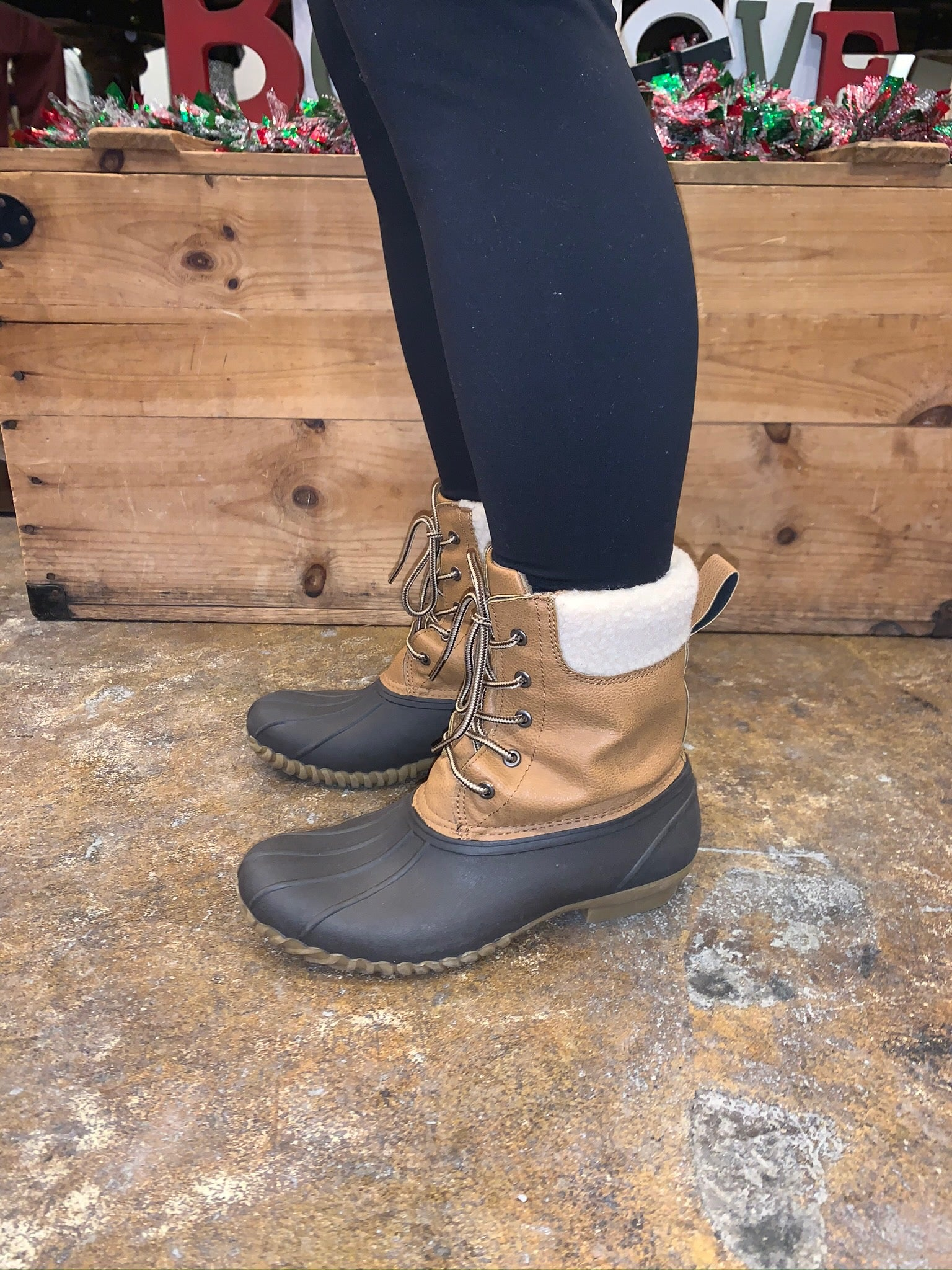 Welcome To Winter Tan and Brown Duck Boot