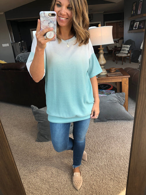 Nothing Beats This Ombre Waffle Tunic w. Pockets- Mint