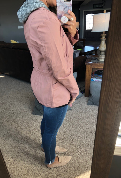 Caught In The Rain Mauve Layered Jacket