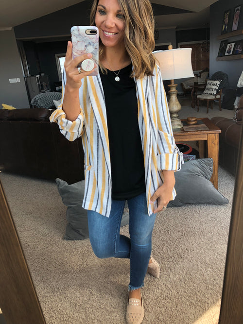 Wake Up Call Mustard and Charcoal Stripe Blazer Jacket