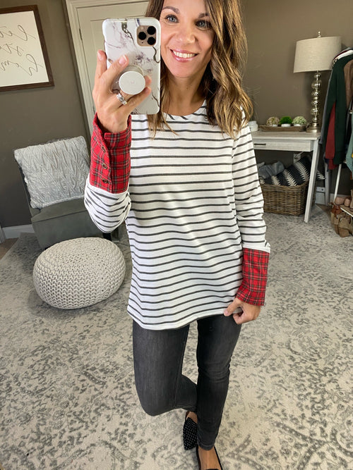 Be Yours Forever White and Charcoal Striped Long Sleeve with Plaid Cuffs