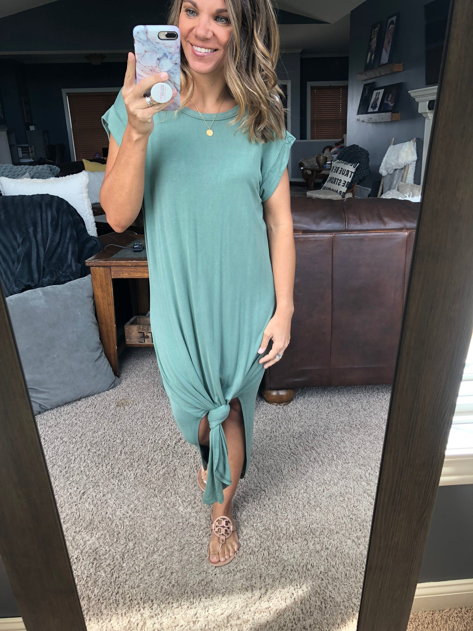 When It's The Weekend Sage Crewneck Knotted Midi T-Shirt Dress