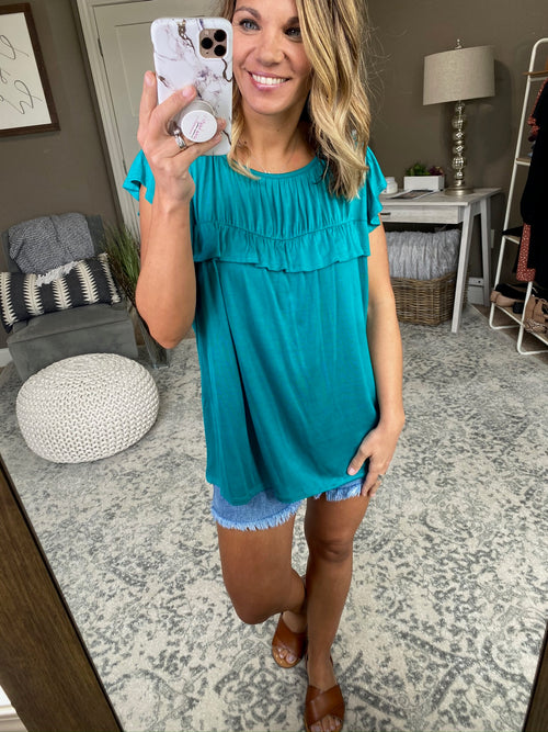 My Only One Ocean Jade Tee With Cap Sleeve and Front Ruffle