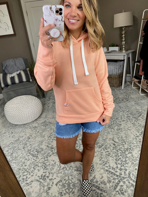 Weekend Bonfire Fleece Lined Hoodie- Sherbet