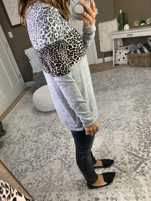 Need No Reason Mixed Leopard Print & Grey Brushed Fleece Long Sleeve