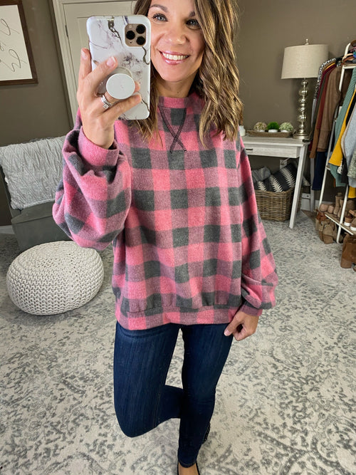 We Need A Little Christmas Vintage Wash Buffalo Plaid Sweater--Multiple Options