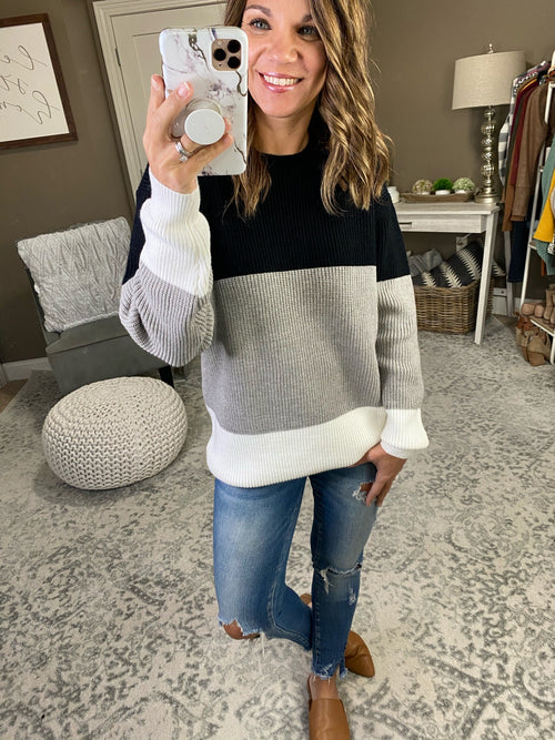 Seasons of Love Ribbed Black, Grey & Ivory Colorblock Sweater