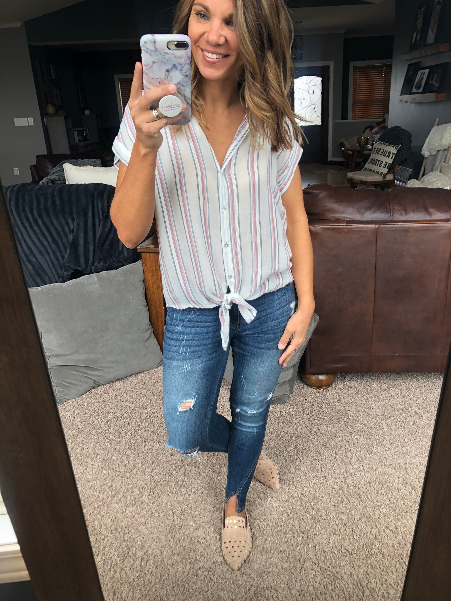 Dock Side Babe Ivory w/ Rose and Light Blue Stripes Button Down Tee