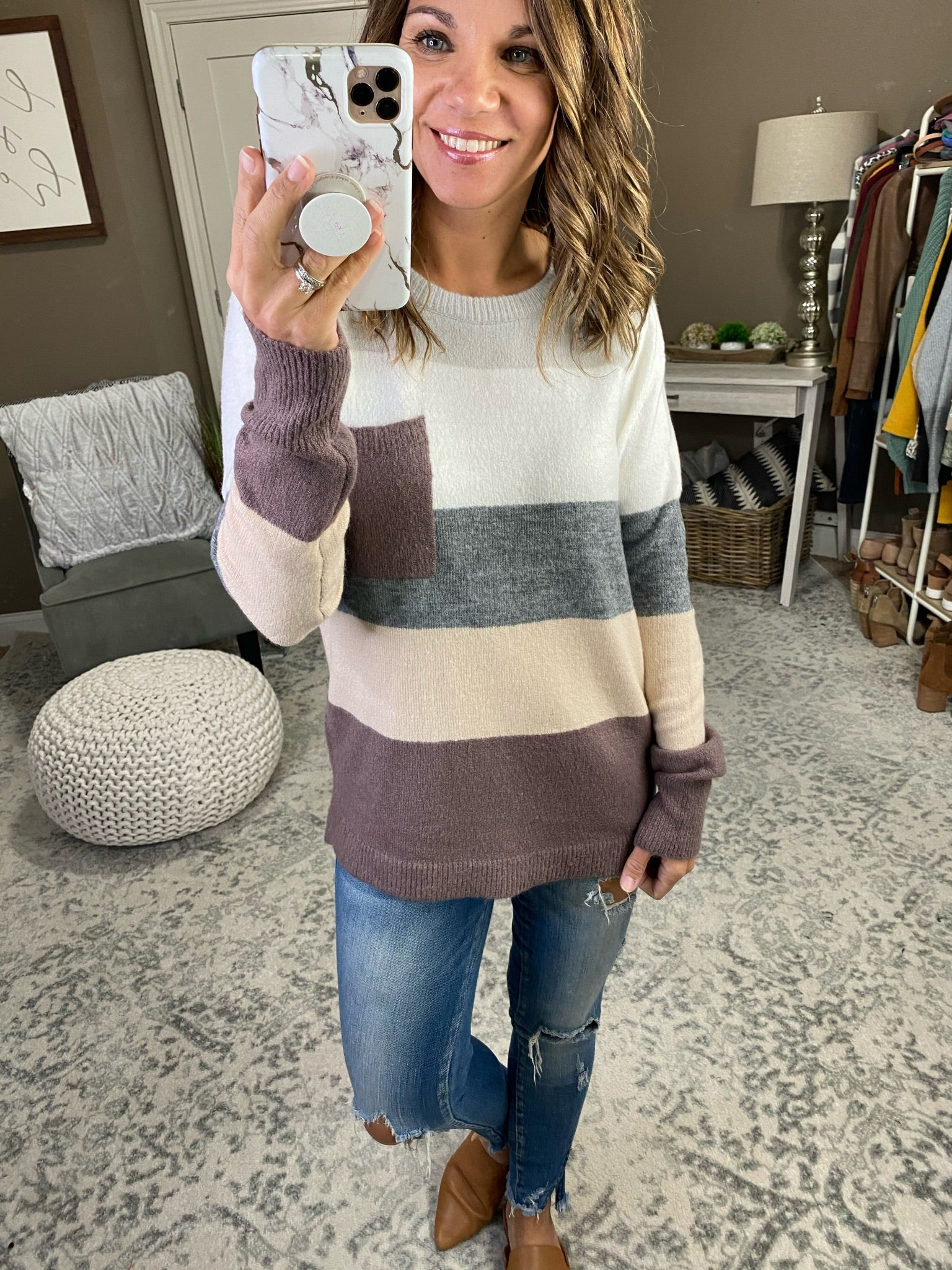 Wrap You Up This Winter Striped Knit Sweater