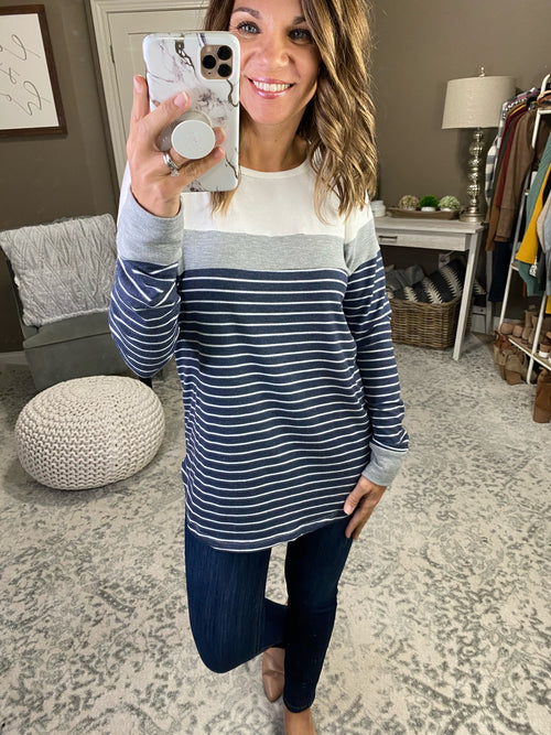 Dream About It Striped Colorblock Long Sleeve - Multiple Options