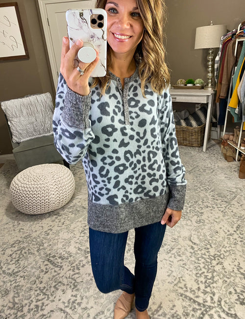 Be With You Leopard Brushed Fleece 1/4 Button Long Sleeve- Multiple Options