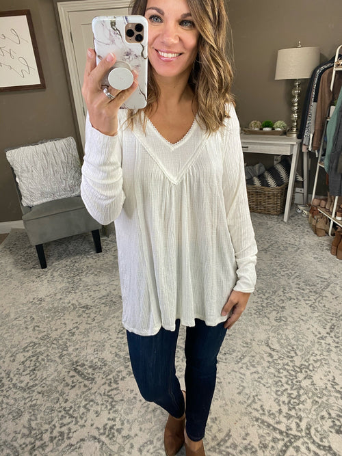 White Christmas Ivory Double V Neck Textured Blouse with Tie Back