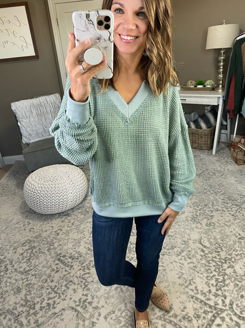 My First Love Sage Double V-Neck Waffle Long Sleeve