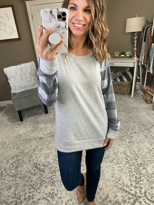 Winter Things Grey Brushed Fleece Sweater With Grey & Charcoal Sleeves