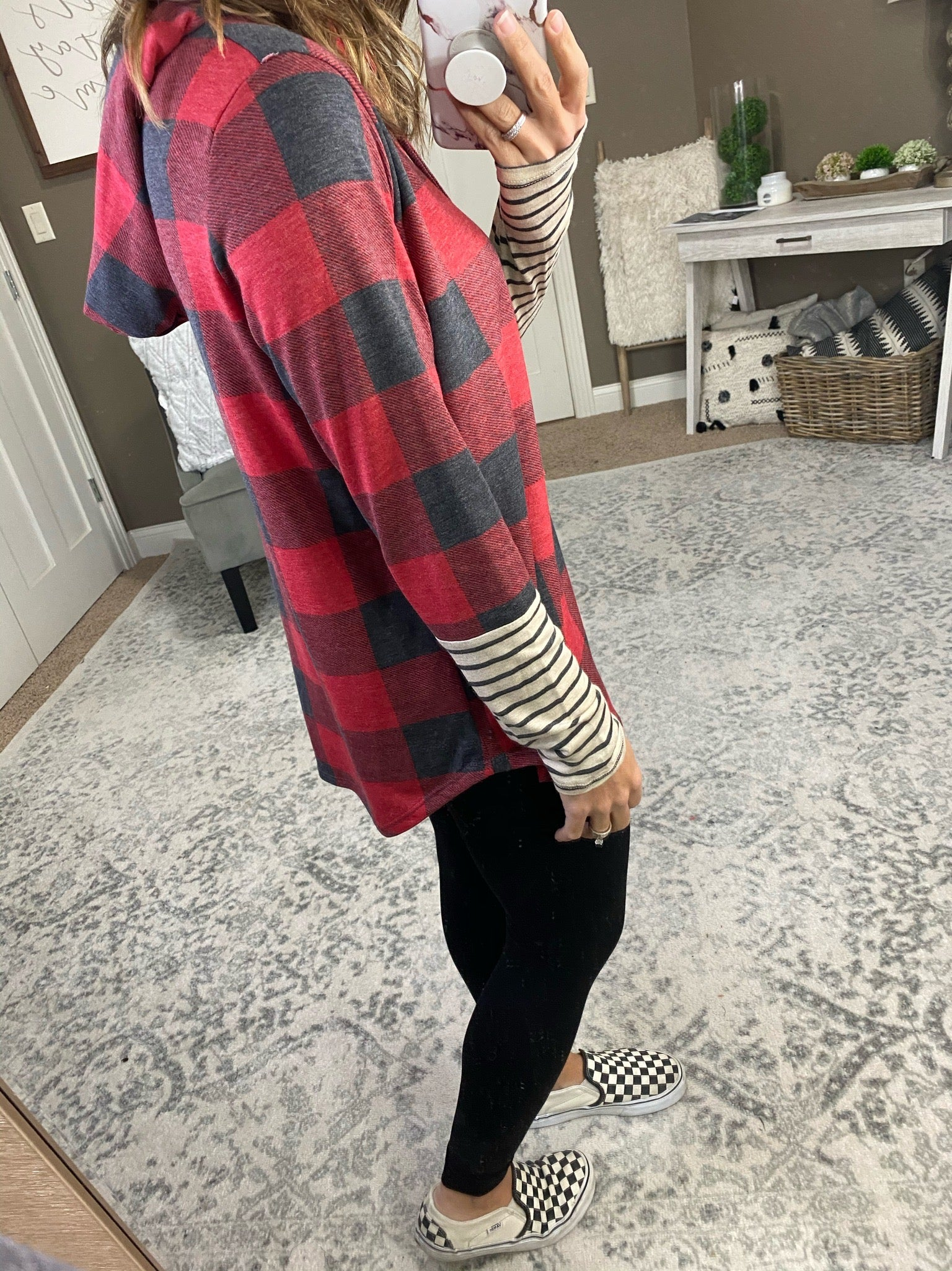 Shake The Frost Buffalo Plaid Hoodie with Striped Sleeve - Multiple Options