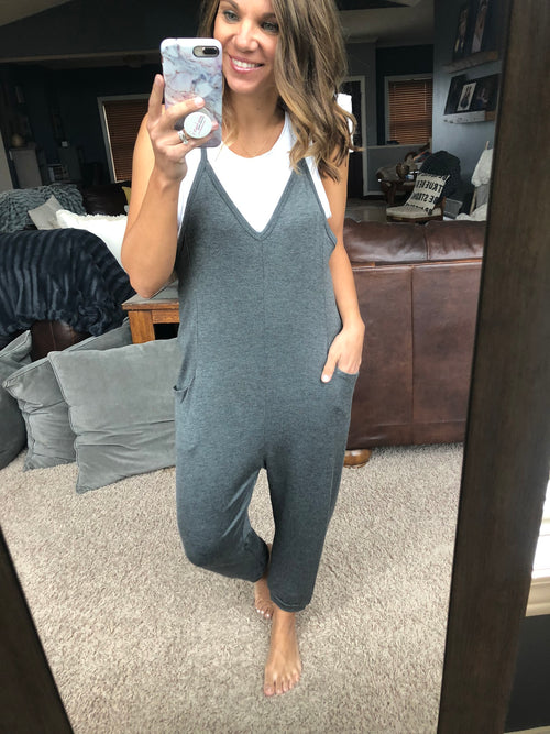 Laid Back Vneck Jumpsuit w/ Pockets - Charcoal