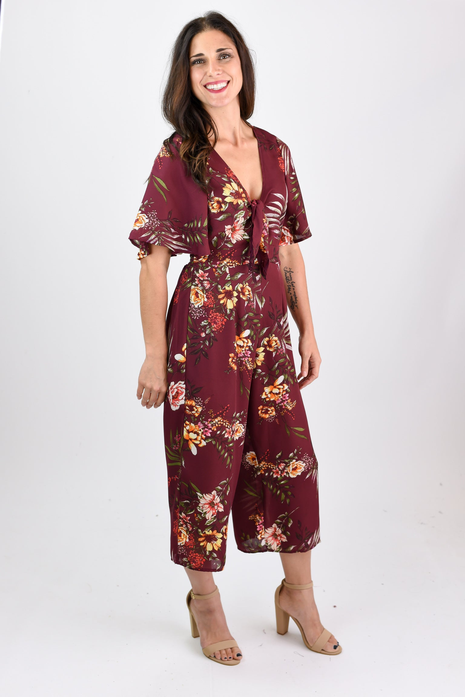 Strike A Cord Floral Burgundy Jumpsuit