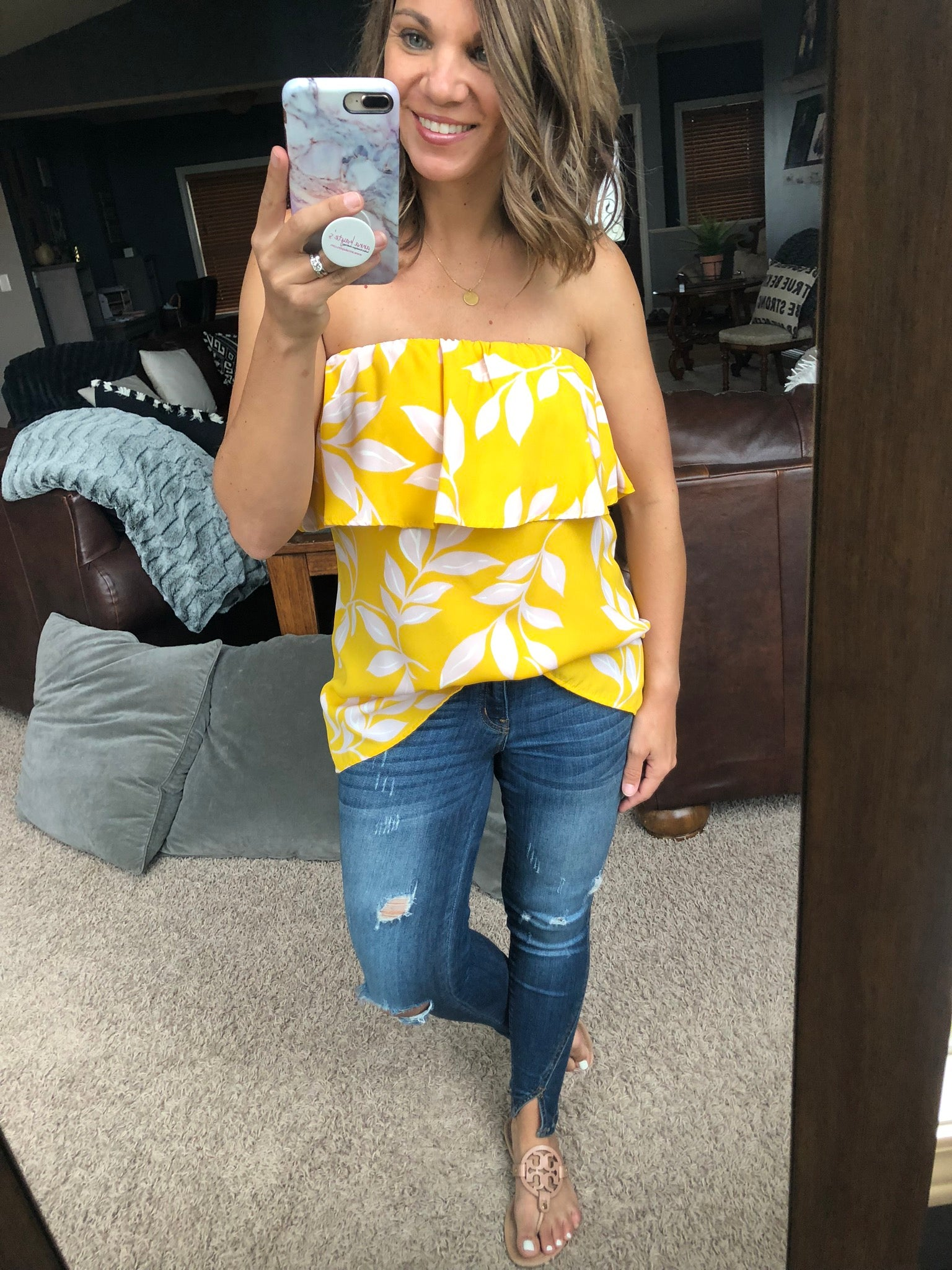 Another Day in Paradise Ruffled Sleeveless Top, Yellow with Pink Floral Print