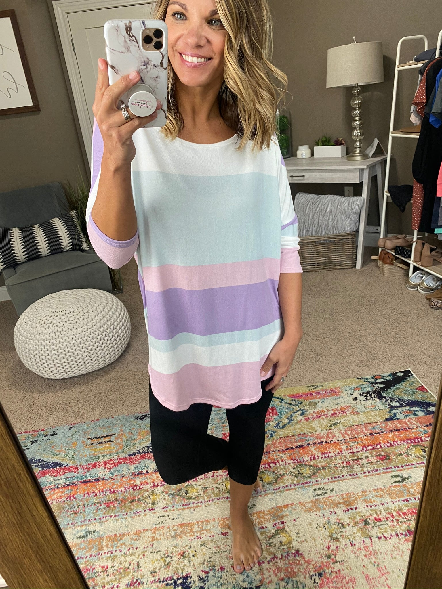 Casual Friday Pink, Lavender, Mint Mix Stripe 3/4 Sleeve