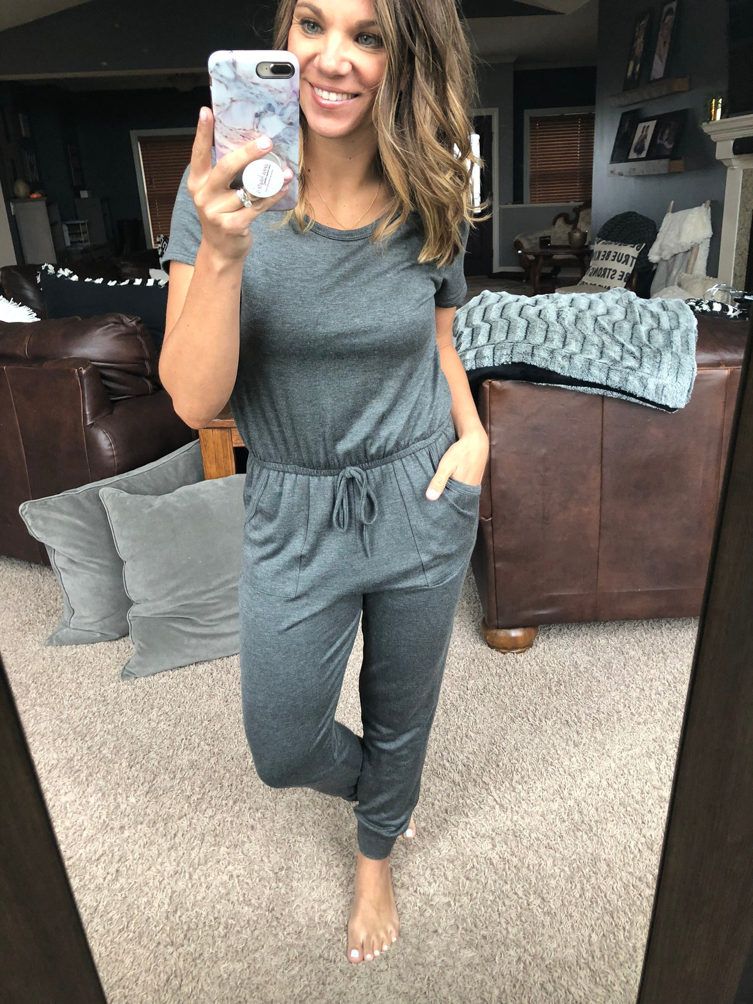 You're My Best Excuse Charcoal Tee Keyhole Back Jumpsuit