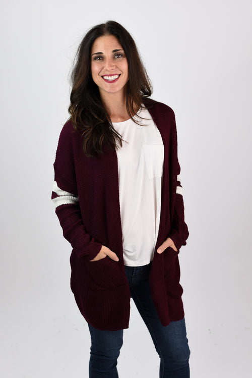 06a28eeeb6114 Take A Step Back Burgundy Varsity Stripe Cardigan