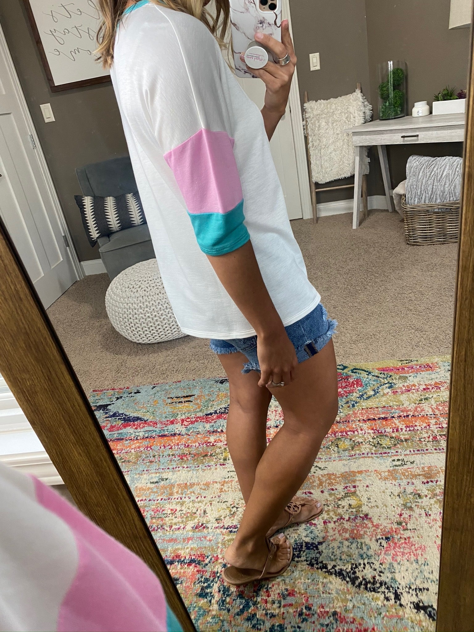 Just Walked In Ivory Tee with Aqua and Pink Colorblock Sleeve